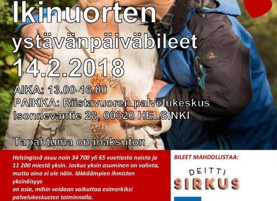 Ikinuorten ystävänpäiväbileet  14.2.2018 (PAIKKA: Riistavuoren palvelukeskus, HELSINKI)